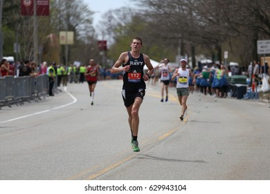 BOSTON - APRIL 17 Jordan Tropf of United States Naval Academy races in the Boston Marathon with a time of 2:28:43 on April 17, 2017 [public race]