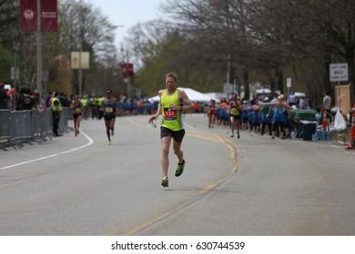 BOSTON - APRIL 17 : Keith Pierce of Lewisville Texas races in the Boston Marathon on April 17, 2017 [public race]