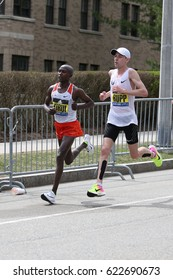 BOSTON - APRIL 17 :  Kenyan Geoffrey Kirui of  Kenya beat Galen Rupp of USA with a time of 2:09.37 during the Boston Marathon April 17, 2017 in Boston. [public race]