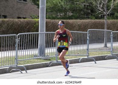 BOSTON - APRIL 17 : Linden Desiree races in the Boston Marathon on April 17, 2017 [public race]