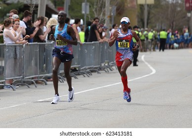 BOSTON - APRIL 17 : Meb and Korir  races in the Boston Marathon on April 17, 2017 [public race]
