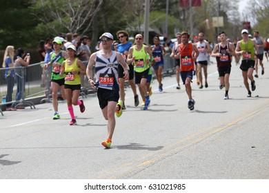 BOSTON - APRIL 17 :over 27000 runners ran in the Boston Marathon on April 17, 2017 [public race]
