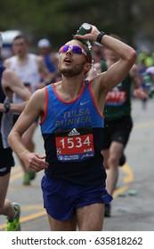 BOSTON - APRIL 17 :Payne, Brandon runs down heartbreak hill  in the Boston Marathon on April 17, 2017 [public race]