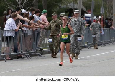 BOSTON - APRIL 17 : Rachel Glasson of Lake Albert Australia races in the Boston Marathon on April 17, 2017 [public race]
