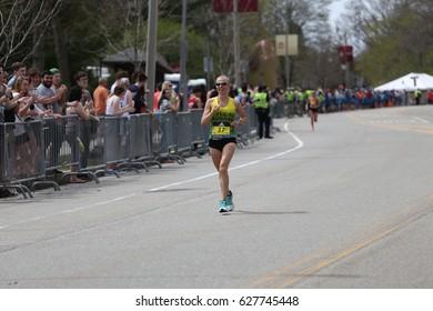 BOSTON - APRIL 17 : Stephanie Andre of Bixby Oklahoma races down heartbreak hill in the Boston Marathon on April 17, 2017 [public race]
