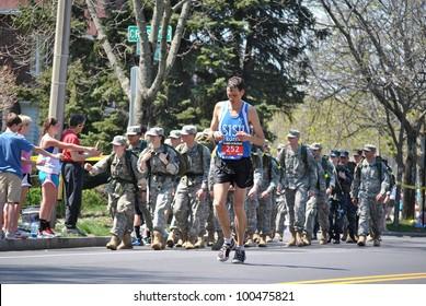 BOSTON - APRIL 18 : Around 25k runners participated in the Boston Marathon on April 18, 2011 in Boston.