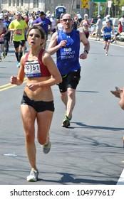 BOSTON - APRIL 18: Around 25k runners participated in the Boston Marathon on April 18, 2011 in Boston.