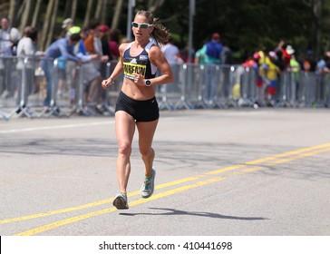 BOSTON - APRIL 18: Bean Wrenn of Boulder Colorado  races with the elite women  up Heartbreak Hill during the Boston Marathon April 18, 2016 in Boston. [public race]