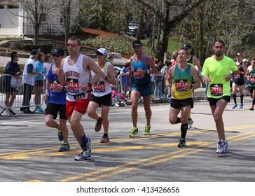 BOSTON - APRIL 18 : Nearly 27000 runners ran up Heartbreak Hill during the Boston Marathon April 18, 2016 in Boston. [public race]