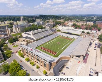 BOSTON - AUG. 10, 2018: Alumni Stadium was built in 1957 in Boston College, Newton, Massachusetts, USA. It is the home of Boston College Eagles football team.