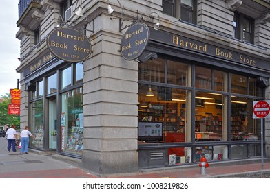 BOSTON - AUG 13, 2011: The facade of Harvard Book Store near Harvard University in Cambridge, Boston, Massachusetts, USA