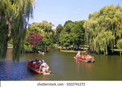 BOSTON - AUGUST 06, 2017: Tourists riding and enjoying Swan boats on the lake, Public Garden in Boston. The boats have been in operation since 1877, and have since become a cultural icon for the city