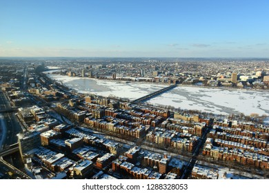 Boston Back Bay, Charles River and apartment aerial view in winter, Boston, Massachusetts, USA