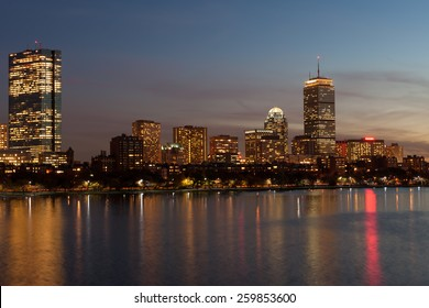 Boston Back Bay skyline and Charles river