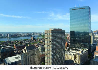 Boston Back Bay Skyline and John Hancock Tower in summer, Boston, Massachusetts, USA.