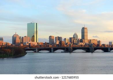 Boston Back Bay Skyline John Hancock Tower and Prudential Center at twilight, viewed from Cambridge, Boston, Massachusetts, USA.