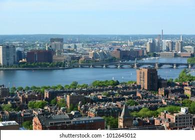 Boston Charles River and Back Bay skyline, Boston, Massachusetts, USA.