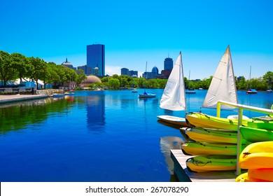 Boston from Charles River in Massachusetts USA