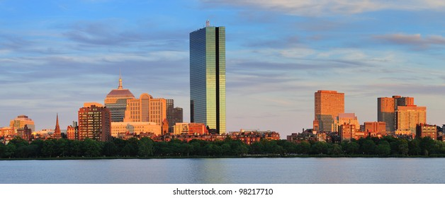 Boston Charles River panorama with urban city skyline at sunset