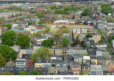 Boston Charlestown Houses aerial view, from the top of Bunker Hill Monument, Boston, Massachusetts, USA.