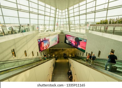 BOSTON - CIRCA JULY 2018: Logan International Airport is an international airport in Boston, Massachusetts.