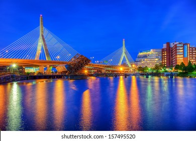 BOSTON - CIRCA JUNE 2012 -  Leonard P. Zakim Bunker Hill Memorial Bridge circa June, 2012 in Boston. The Bridge serves as the northern entrance to and exit from Boston.