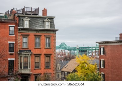 Boston city apartment buildings and skyline in Massachusetts.
