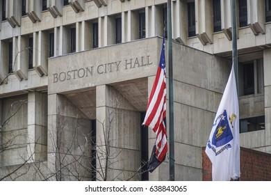 Boston City Hall at Downtown - BOSTON / MASSACHUSETTS - APRIL 3, 2017