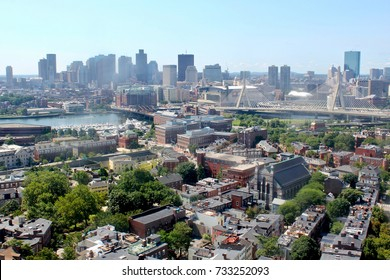Boston city viewed from Bunker Hill, Massachusetts, USA, August 7, 2017