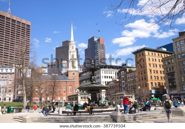 The Boston Common, Boston - April 2009: The Boston Common, founded in 1634, is the oldest public park in America. Boston, Massachusetts, USA.
