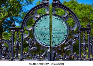 Boston Common Arlington St gate in Massachusetts USA