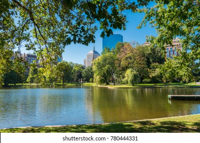 Boston Common Frog Pond is a central public Garden park in downtown Boston, Massachusetts. and city skyline.
