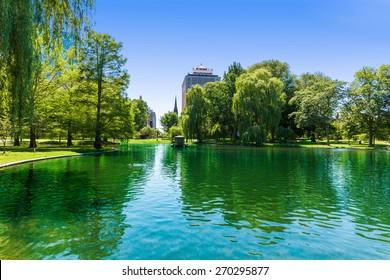 Boston Common lake and skyline in Massachusetts USA