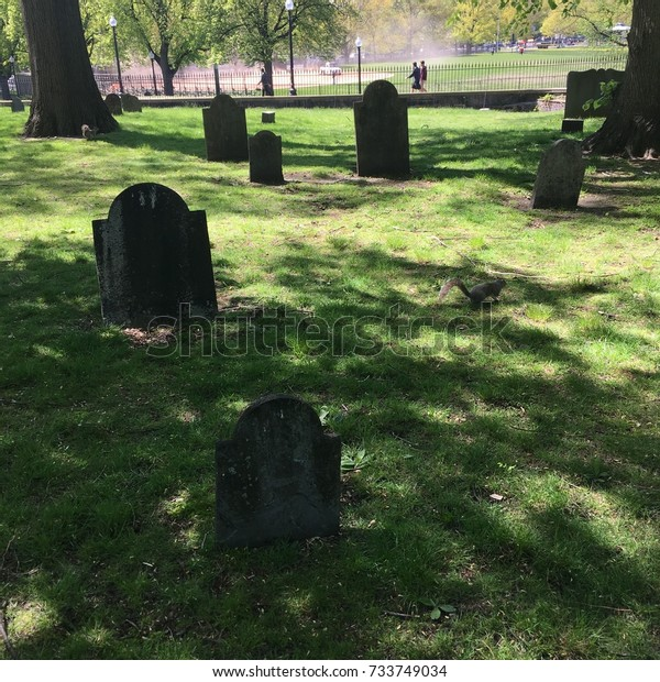 Boston Commons Burial Ground Scary Gravestones Stock Photo