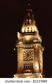 Boston Custom House Clock Tower at night