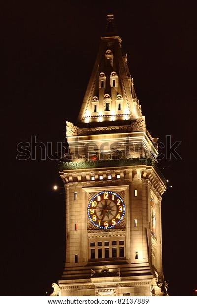 Boston Custom House Clock Tower at night