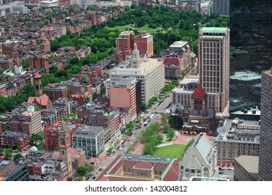 Boston downtown aerial view with historical architecture, street and city skyline.