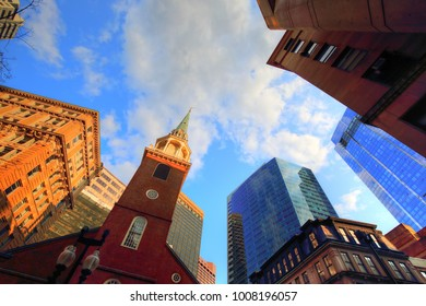 Boston downtown skyline at a bright sunny day
