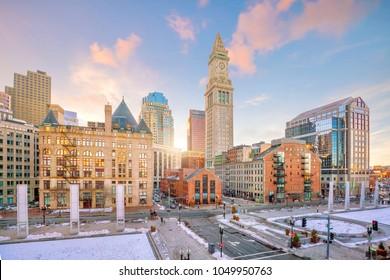 Boston downtown skyline at sunset in Massachusetts, USA