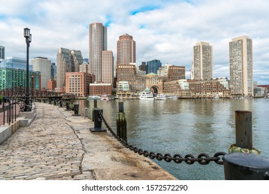 Boston finacial district and waterfront on a cloudy autumn morning