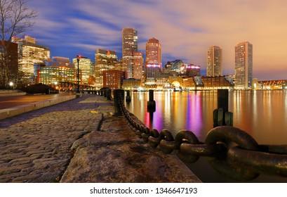 Boston Financial District and waterfront before Sunrise, Boston, Massachusetts