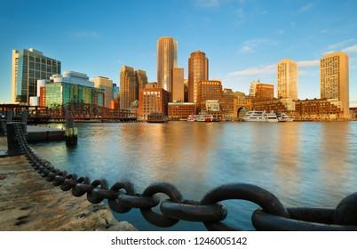 Boston Financial District and waterfront, Boston at Sunrise , Massachusetts
