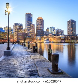 The Boston Harbor architecture at sunset in Boston, Massachusetts, USA.