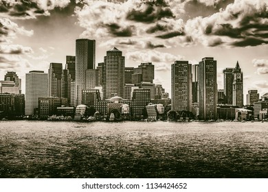 Boston Harbor in Black and White