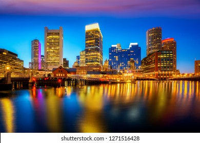Boston harbor with cityscape and skyline on sunset, Massachusetts, Boston city, USA