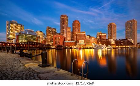 Boston harbor with cityscape and skyline on sunset, Massachusetts, Boston city, USA