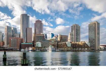 Boston Harbor and Financial District skyline - Boston, Massachusetts, USA
