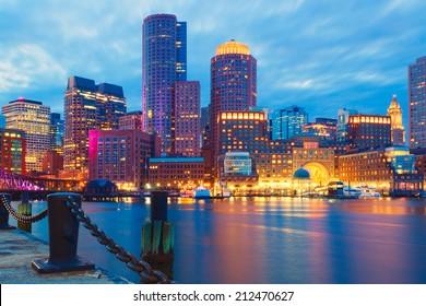 Boston Harbor and Financial District at sunset. Boston- Massachusetts, USA