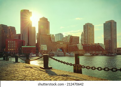 Boston Harbor and Financial District at sunset. Boston- Massachusetts, USA. Retro filter effect.