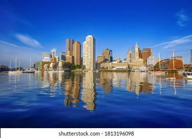 Boston Harbor Reflection in Water Daytime